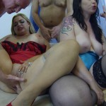 3 dirty sluts get gangbaned in their home