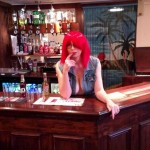Barmaid removes her knickers and plays pool