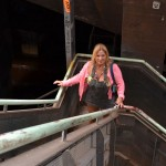 Blonde housewife flashing at the industrial museum