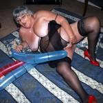 Grandma Libby having some erotic fun with balloons