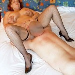 Horny housewife Curvy Claire lets her neighbour lick her pusys