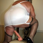 Nude Granny in stockings showing her pussy