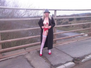 UK wife showing her red undies in public