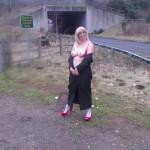 UK wife showing her red undies in public
